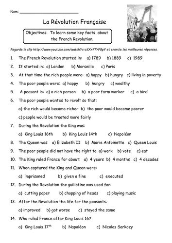 french revolution worksheet teaching resources