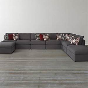 black u shaped sectional sofa with ottoman for living room With u shaped sectional sofa with ottoman