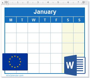 calendar  eu holidays ms word