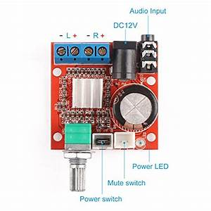 12 Volt Amplifier Board  Drok Pam8610 Mini Stereo Amp 10w