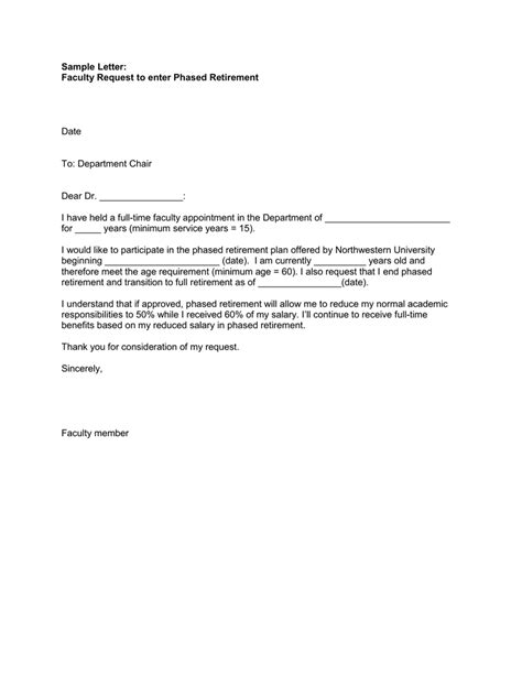 sample letter faculty request  enter phased retirement date