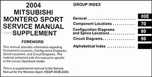 2004 Mitsubishi Montero Sport Wiring Diagram Manual Original