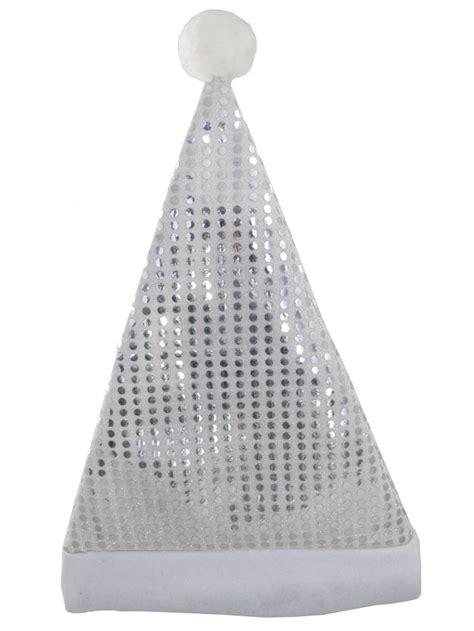 santa plush silver hat with sequins 43cm santa hats