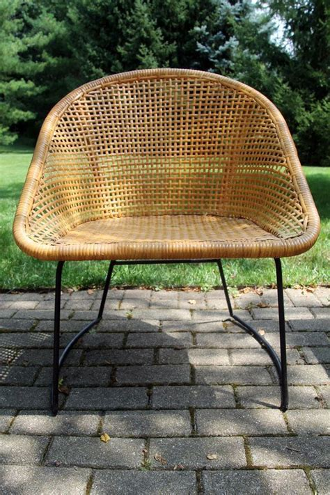 110 vintage mid century modern wicker chair by mid