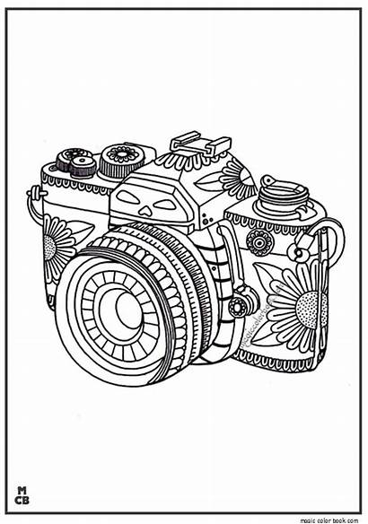 Coloring Pages Whimsical Camera Pattern Zentangle Icolor