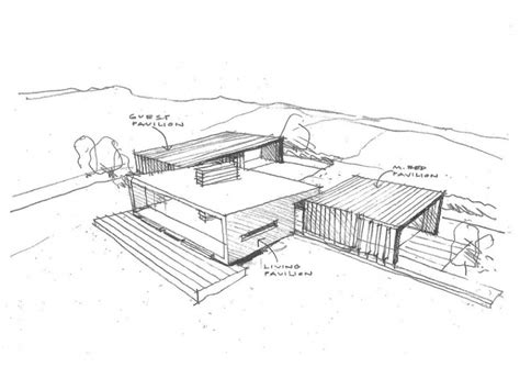 Pencil And In Color Drawn House Modern Architectural