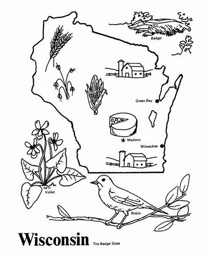 Coloring Outline Usa Wisconsin State Bird Map
