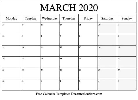 printable blank march  calendar   heart