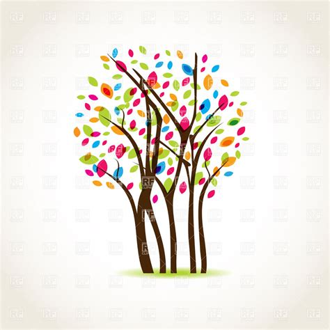 color tree beautiful tree covered with colorful leaves vector