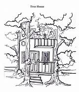 Coloring Tree Treehouse Between sketch template