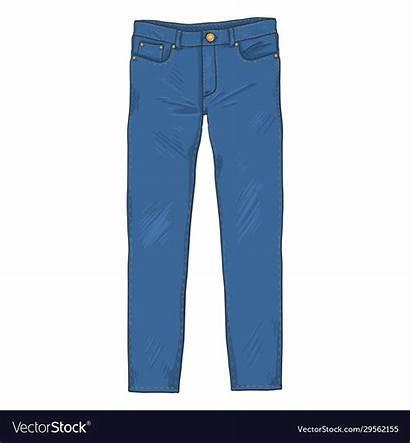 Cartoon Jeans Pants Denim Vector Royalty