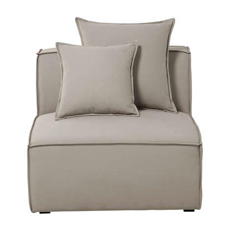 canapé chauffeuse chauffeuse de canapé modulable en coton beige colombus