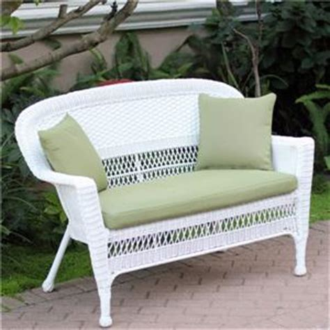 outdoor white resin wicker sofa settee loveseat w green