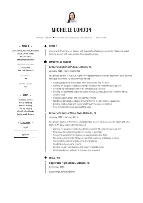 Resume Sle Editable by Grocery Cashier Resume Sle Free Exle