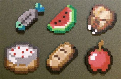 catalogue ik饌 cuisine minecraft food items perler fused chicken fish bread apple and cake minecraft fish breading cakes and minecraft