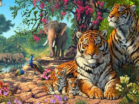 tigers family exotic birds paun elephants jungle nature hd