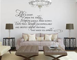 Living Room Wall Decals - Life is Short Quote - Wall