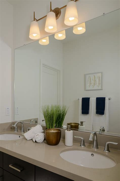 serene transitional bathroom  double vanity sinks