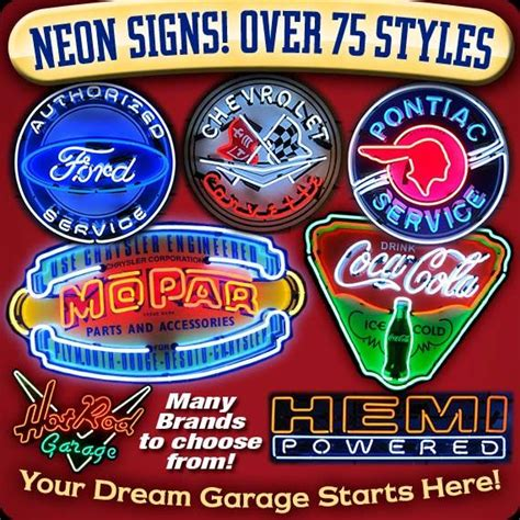 garage art vintage automotive signs posters neon