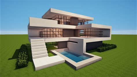 Großes Modernes Minecraft Haus Mit Pool Bauen Tutorial