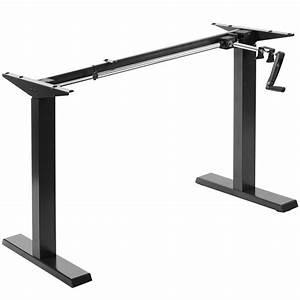 Used Vivo Black Manual Height Adjustable Stand Up Desk