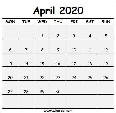 printable april  calendar  april calendar images
