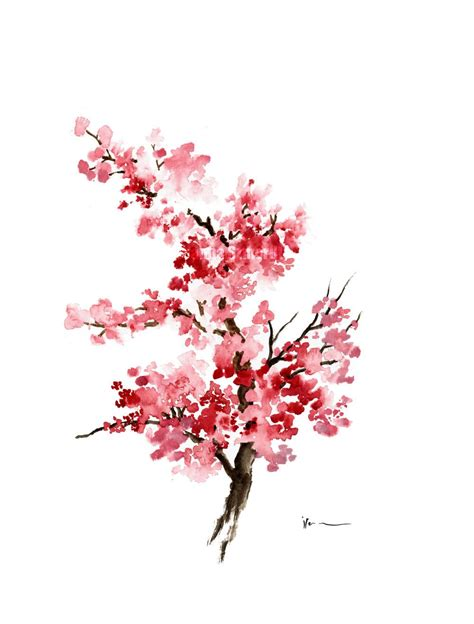 Cherry Blossom Flower Watercolor Painting Pink Gifts For