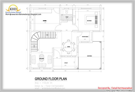 house design layout home plan and elevation 1983 sq ft kerala home design