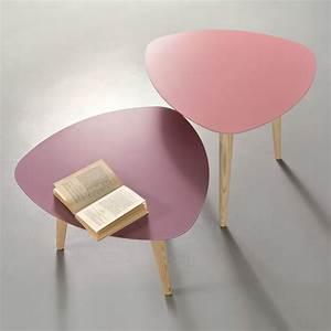 Table Basse Rose : nord1 table basse design en bois pourvue de plateau triangulaire en m tal disponible en ~ Teatrodelosmanantiales.com Idées de Décoration