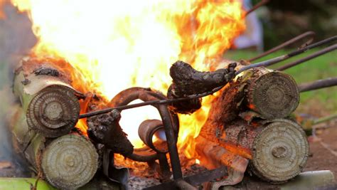 closeup burning dead body  stock footage video