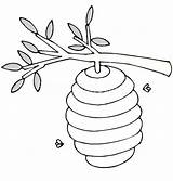 Hive Bee Coloring Beehive Tree Branch Branches Drawing Colouring Printable Netart Objects Maze Clip Getcoloringpages Getdrawings sketch template