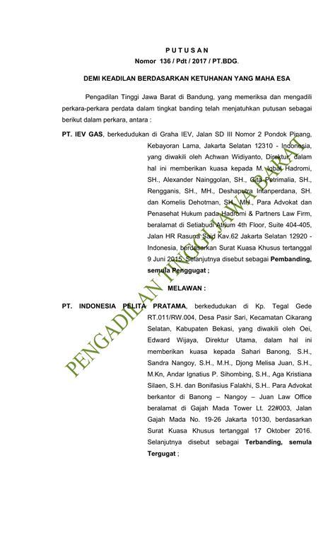 P U T U S A N Nomor 136 / Pdt / 2017 / PT.BDG. DEMI KEADILAN