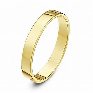 9kt yellow gold light flat court 3mm wedding ring With flat wedding rings