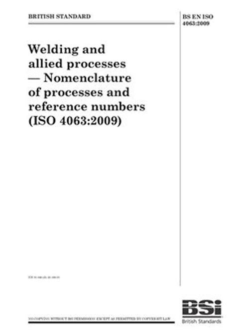 BS EN ISO 4063: 2009 Welding and allied processes