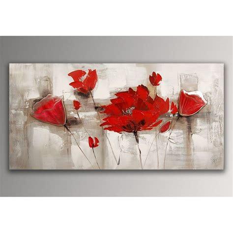 toile de cuisine coquelicots rouges tableau floral modern peint à la