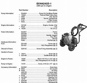 Exha2425 Pressure Washer Replacement Parts