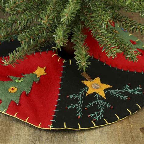 small christmas tree  star hand embroidered tree skirt