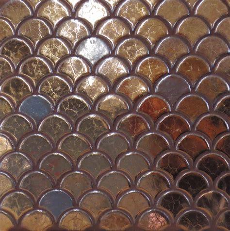 bronze mini moroccan fish scales mediterranean tile