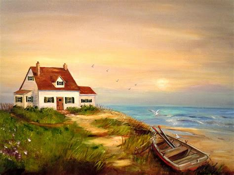 cottages by the sea cottage by the sea painting by barbara pirkle