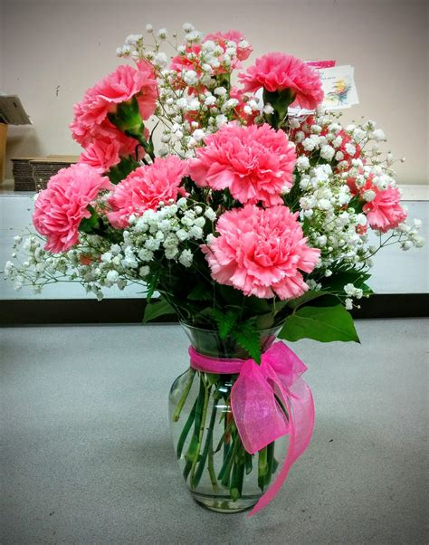 pink carnations babies breath  images wedding