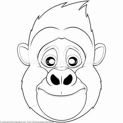 Face Gorilla Coloring Mask Animal Pages Masks