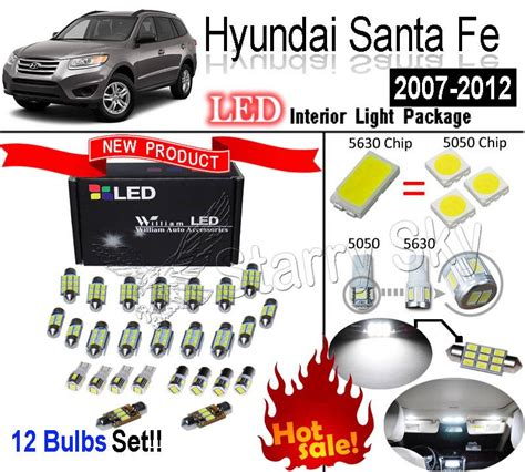12 bulbs white 5630 led interior light kit for