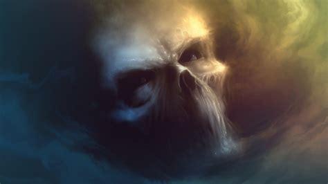 skull clouds sky artwork digital art fantasy art