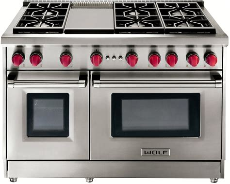 wolf gas cooktop wolf 48 quot stainless steel gas range with griddle gr486g