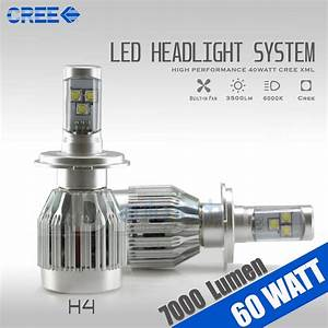 60w 7000lm Cree Led 9003  H4 Headlight High  Low Beam Bulbs 6000k White Light