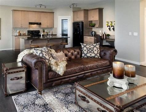 living room decor with leather sofa brown leather sofa chesterfield living room coffee