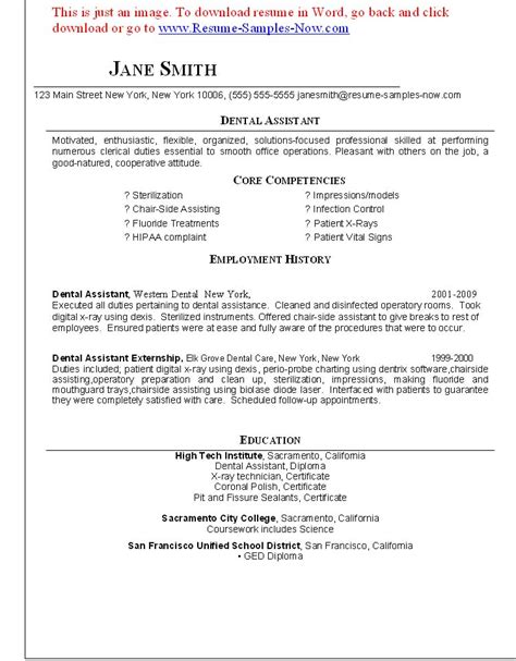 dental assistant resume objectives resume and dental assistant