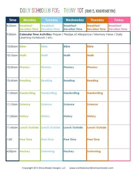 kindergarten daily schedule homeschool daily schedule