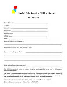 Day Care Registration Form for Child