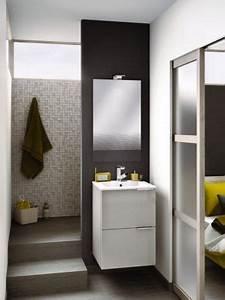 petite salle de bains dix solutions d39amenagement With porte de douche coulissante avec meuble salle de bain lave main